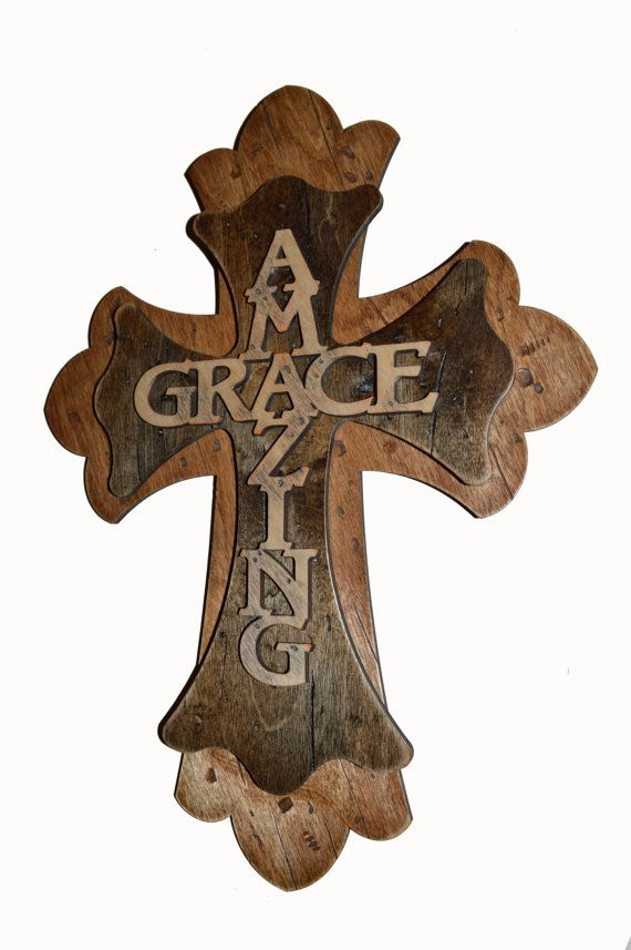 Amazing Grace Decorative Rustic Wall Cross by ArtisticCraftSupply