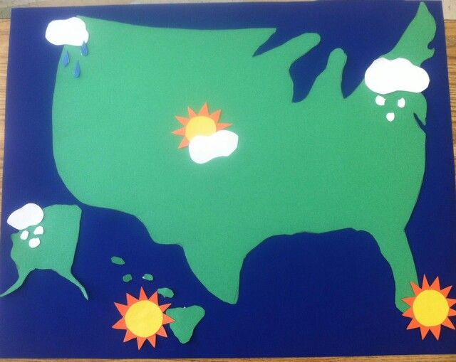 Homemade weather map. Use this for your weather station in home living or.dramatic play