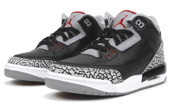 Air Jordan 3 Retro (GS) - Black Black / Varsity Red / Cement Grey