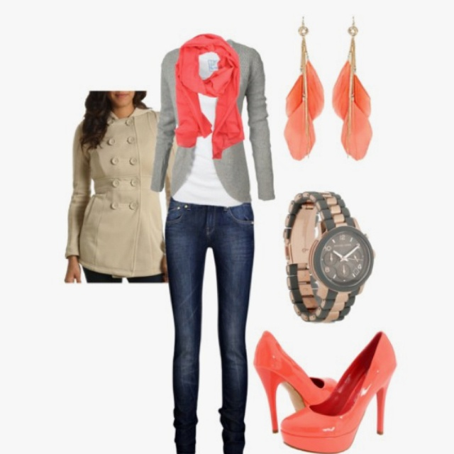 Love the pop of color the shoes, scarf & earrings make.