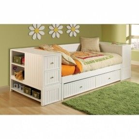 Full Daybed with Storage | Awesome Modern Daybed With Trundle In White Themed Completed With ...