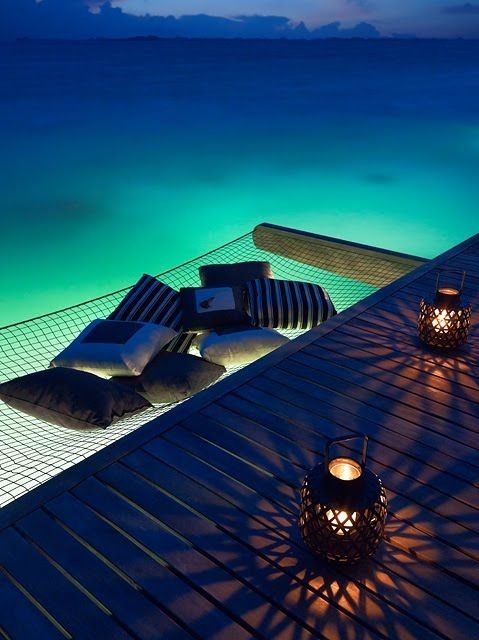 Now this is how you relax. Floating Hammock at Villingili Resort  Spa in Maldives
