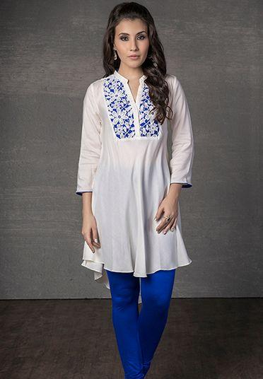 Cotton rayon kurti with lace work