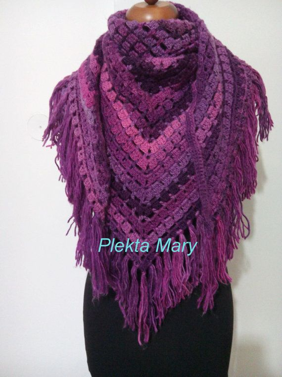 crochet shawl triangle shawl wrap shoulder long by CrochetMaryGR