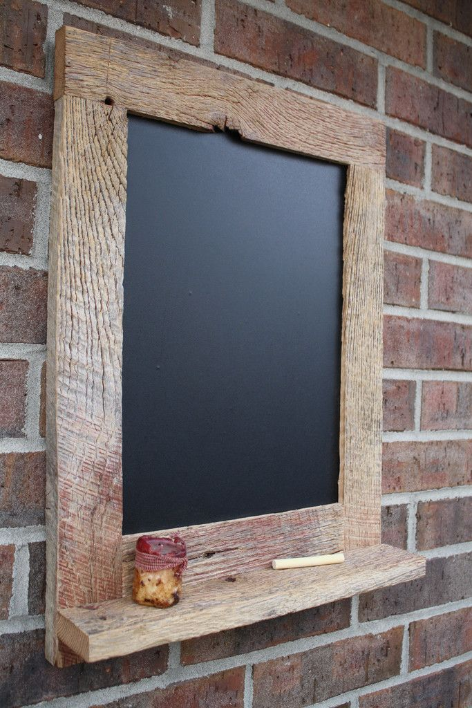 Reclaimed barn wood rustic chalkboard with shelf for j for Barnwood decor