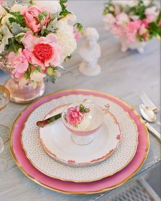 Matrimonio inspirado en tarde de té rosa: Teas Time, Tables Sets, Afternoon Teas, Vintage China, High Teas, Teas Sets, Pink, Places Sets, Teas Parties