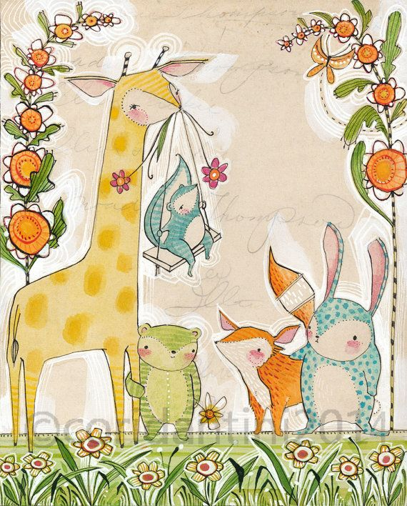 "cute animal Art Print - Cori Dantini Nursery Art Print - ""8 x 10""  Animal Themed Nursery Baby Room Decorating Ideas Archival Limited edition"