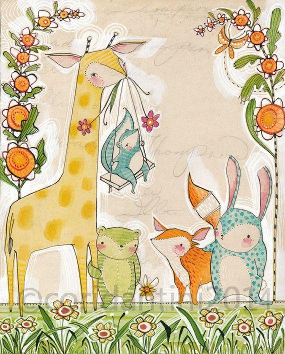 "cute animal Art Print - Cori Dantini Nursery Art Print - ""8 x 10""  Animal Themed Nursery Baby Room Decorating Ideas Archival Limited edition"