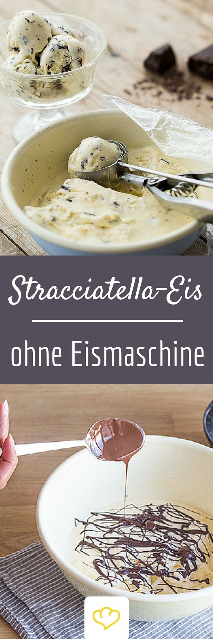 Auch ohne Eismaschine kannst du köstlich cremiges Stracciatella-Eis zu Hause herstellen. Was du brauchst, sind entsprechende Zutaten, ein Gefrierfach und etwas Geduld.