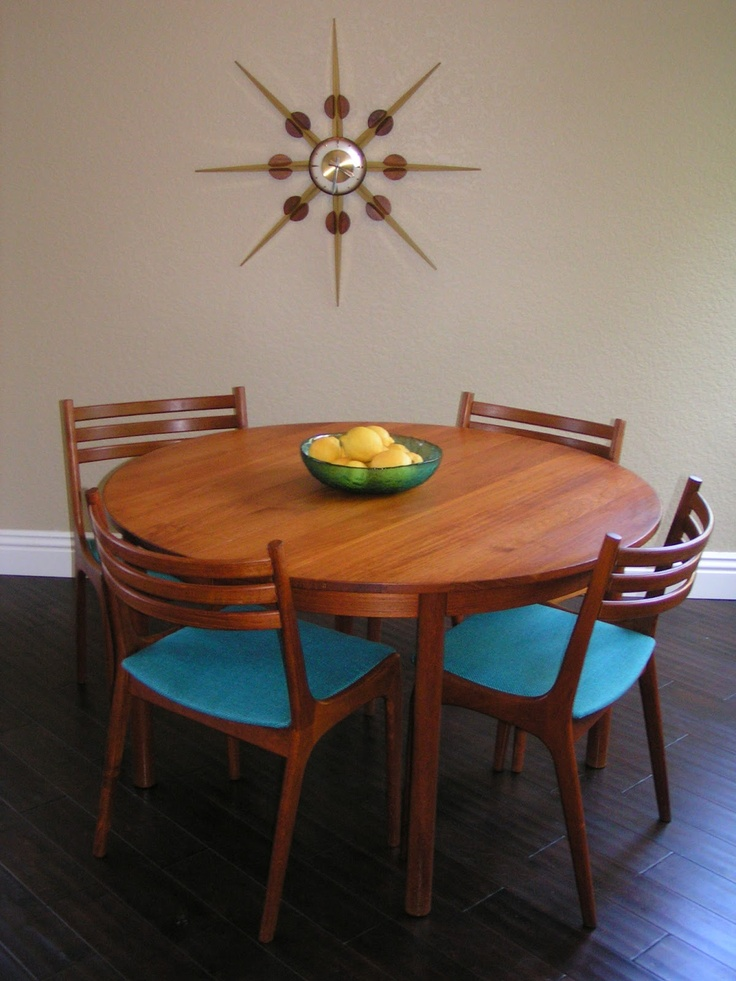 Sleek and Simple Lines: Vintage Danish Teak Round Dining Table, Six Chairs, Two Leaves!
