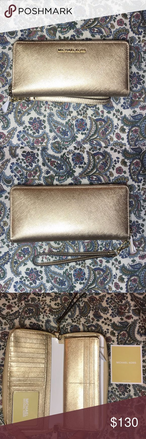 Michael Kors Jet Set Travel wallet This is a beautiful gold shimmery Michael Kors Jet Set Travel Continental leather wallet. NWT! NBW! MICHAEL Michael Kors Bags Wallets