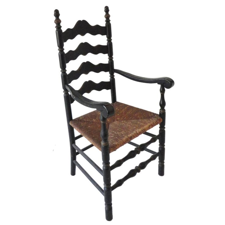 19th c. Original Black Painted Ladder Back Armchair from New England $2,450