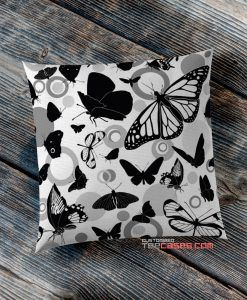 butterfly White Black pillow case, Custom Pillow case, Square Rectangle pillows case