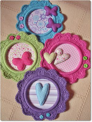 Crochet flower frames