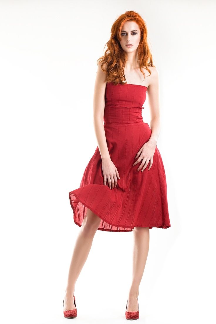 Marilyn dress - passionate red threadwork fabric - 100% organic cotton