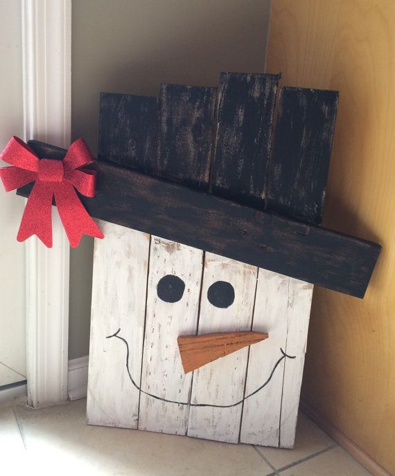 Handmade hand painted pallet snowman by LivingReclaimed on Etsy