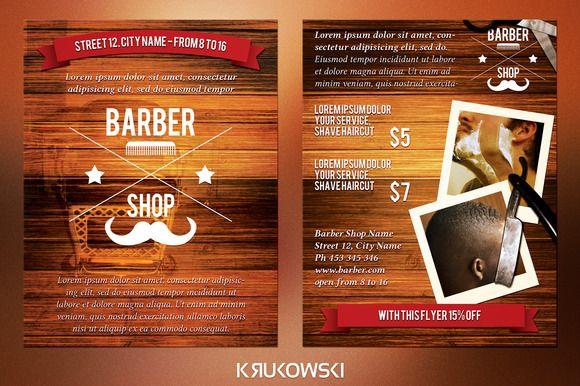 Check out Barber Shop 2 Sided Flyer by Krukowski on Creative Market