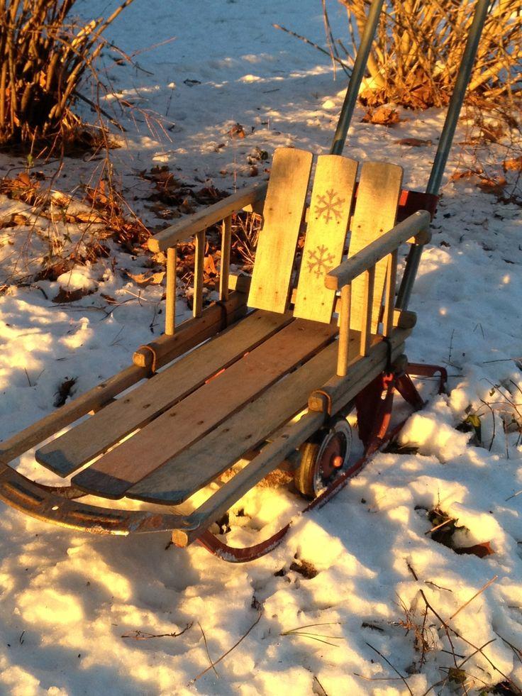 Slitta di neve vintage bambino - Decorazione natalizia per la parte anteriore-2277