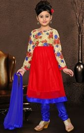 Picture of Plushy Beige and Red Color Kids Salwar Kameez