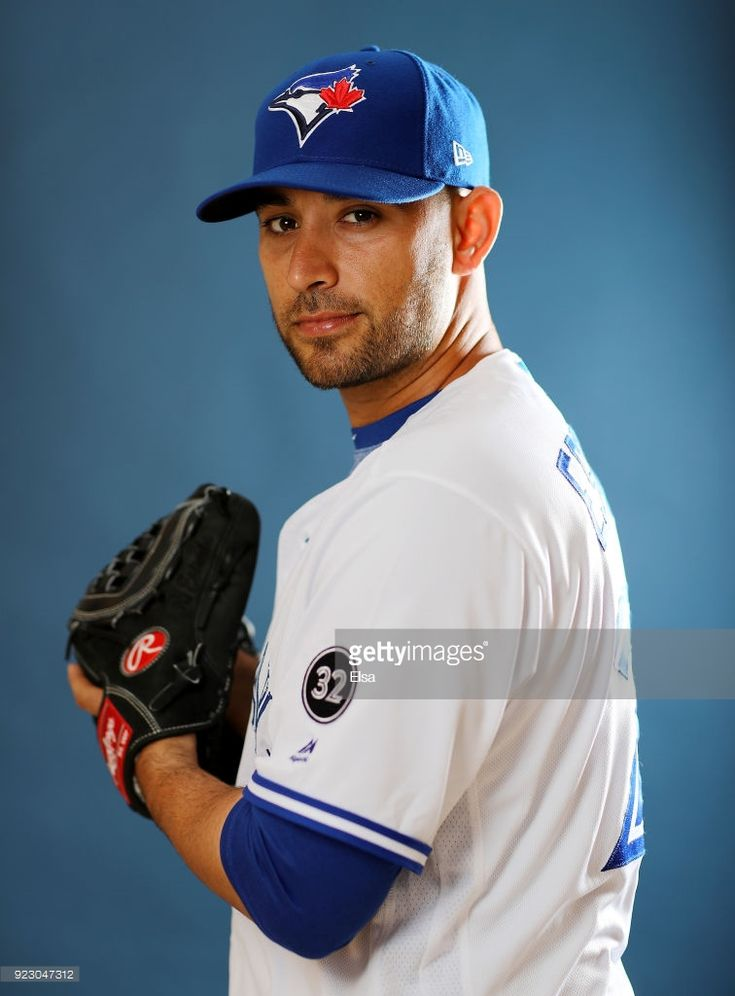 Marco Estrada #25 of the Toronto Blue Jays poses for a portrait on February 22, 2018 at Dunedin Stadium in Dunedin, Florida.