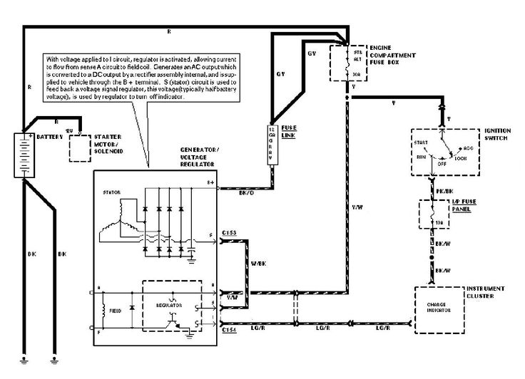 1987 Ford Alternator Internal Regulator Schematics