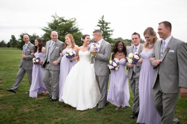 wedding party, lavender purple bridesmaids dresses, classic gray men's attire, bridal party, classic purple and gray wedding, Abby Grace Photography