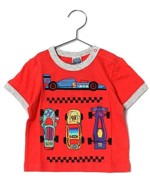 b-room (ビールーム)のレースカーデザイン半袖Tシャツ(Tシャツ/カットソー)|レッド