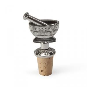 Charming pewter wine stopper is the perfect addition to the pharmacy professional's barware collection. Modern mortar & pestle design with cork stopper bottom. Made in the USA!