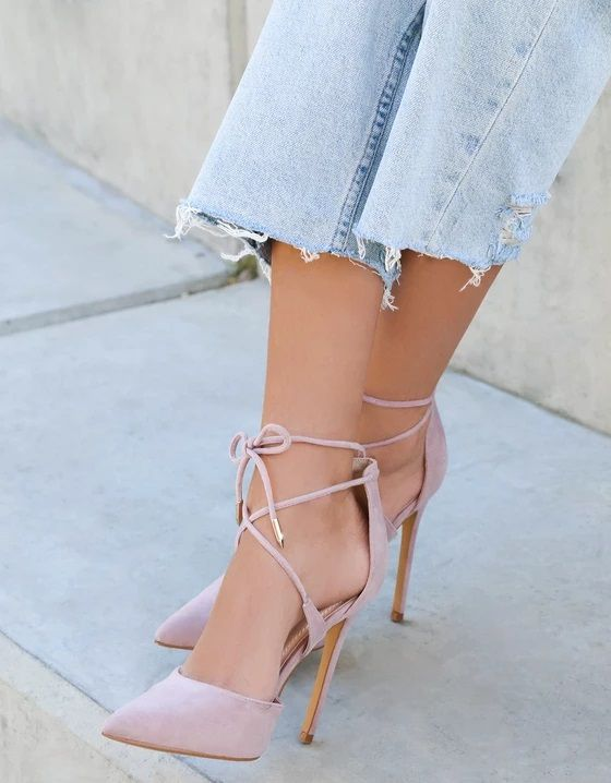 c9791b6ac0e Dusty Rose Suede Lace-Up Dani Heels | Women's Pointed Toe Shoes ...