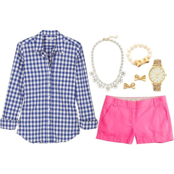 Blue gingham, pink shorts, j.crew necklace and kate spade jewelry.