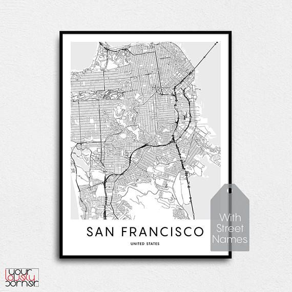 San Francisco Map Print, Map Gifts, Printable Map OF San ... on san francisco street parking map, san francisco attractions, san francisco haight-ashbury 60s, san francisco 1800s, venice street map print, london street map print, san francisco beaches swimming, key west street map print, san francisco cable car routes, san francisco 1915, san francisco street car map,