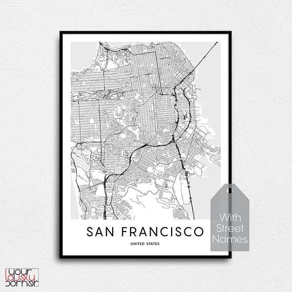 san francisco map san francisco print