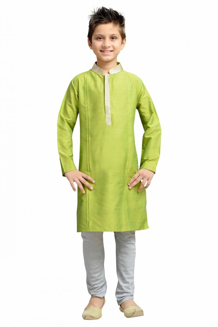 Dress up your little Champ in a plush Kurta Pyjama. Cotton And Silk Party Wear Kurta Pyjama Set In Green Colour This Kurta Pyjama will make your dear little champ adorable for any special occasion....