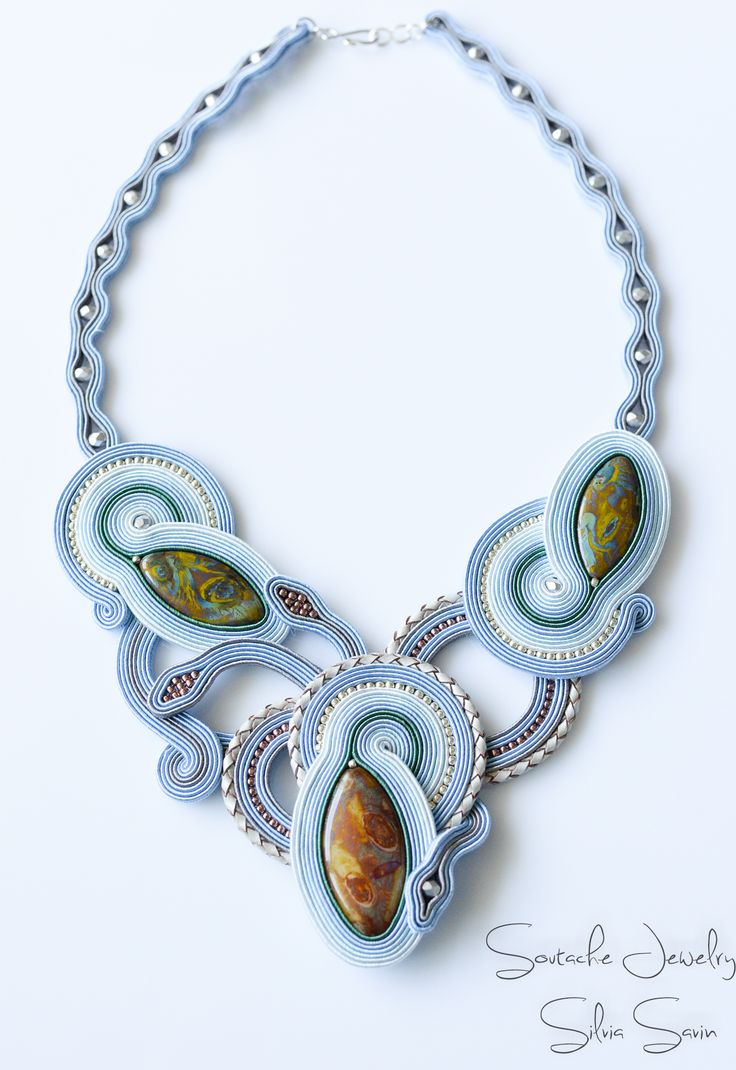 Shades of Blue/ Grey/ Green Handmade soutache necklace with czech glass beads