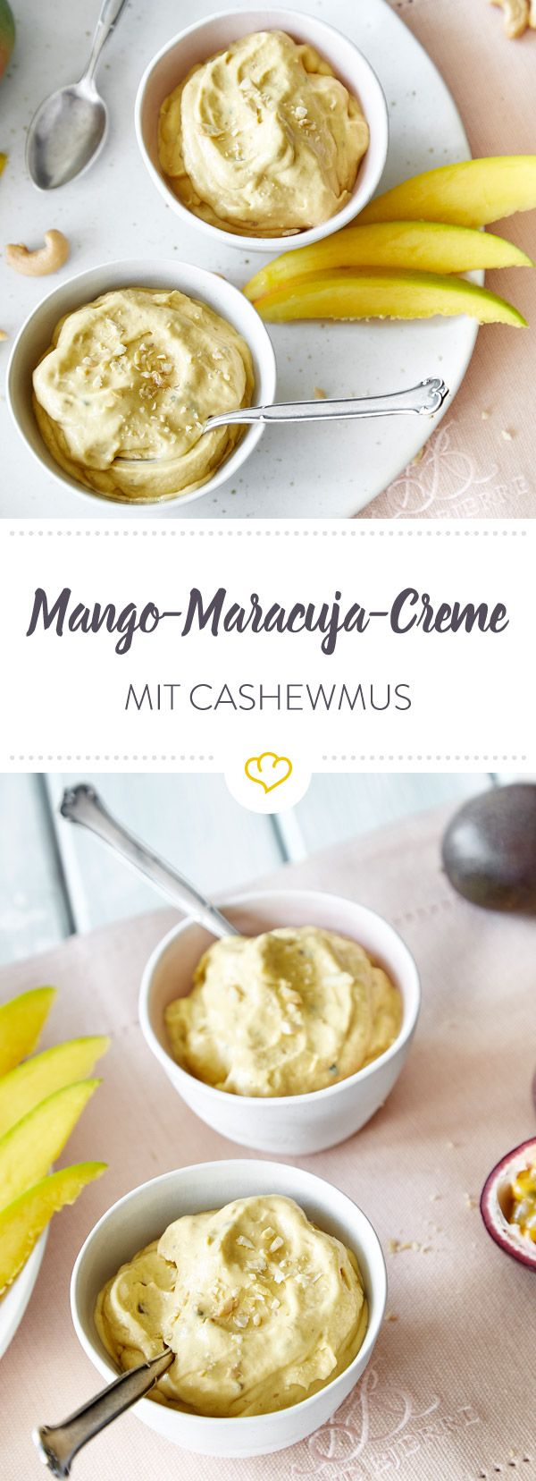 Ein cremiges Dessert ohne raffinierten Zucker? Dank gefrorener Mango, Maracujas, Datteln und Cashewmus machst du dein cleanes Dessert mit links.