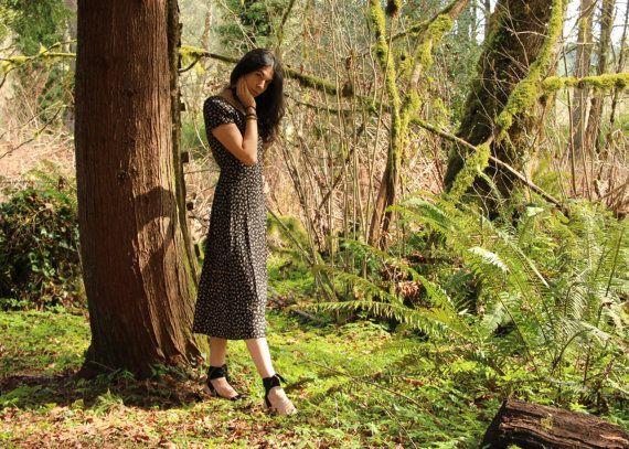 Vintage 90's Short Sleeve Floral Black Maxi Dress by TheMiriad