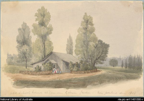 Old schoolhouse at Camden by lower garden in the 1850s.