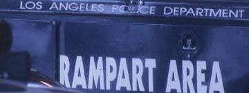 timeline of the LAPD Rampart scandal in the late 90s     photo of a rampart truck