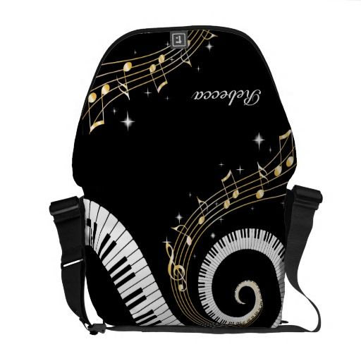 Personalized Piano Keys and Gold Music Notes Courier Bags