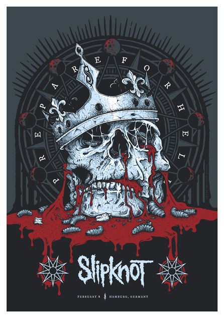 Official screenprinted poster for Slipknot's performance in Hamburg. Germany on February 8, 2015. This design was created as part of their 'Prepare For Hell' 2014/2015 European Tour and is the second gigposter we've been asked to create for the band. A2 (UK sizing), 5 colours on 300gsm Natural White Stock.