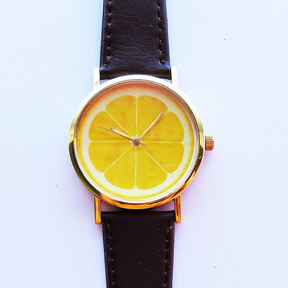 Lemon Slice Fruit Watch  , Vintage Style Leather Watch, Women Watches, Unisex Watch, Boyfriend Watch, Men's Watch, Ladies Watch on Etsy, $12.00