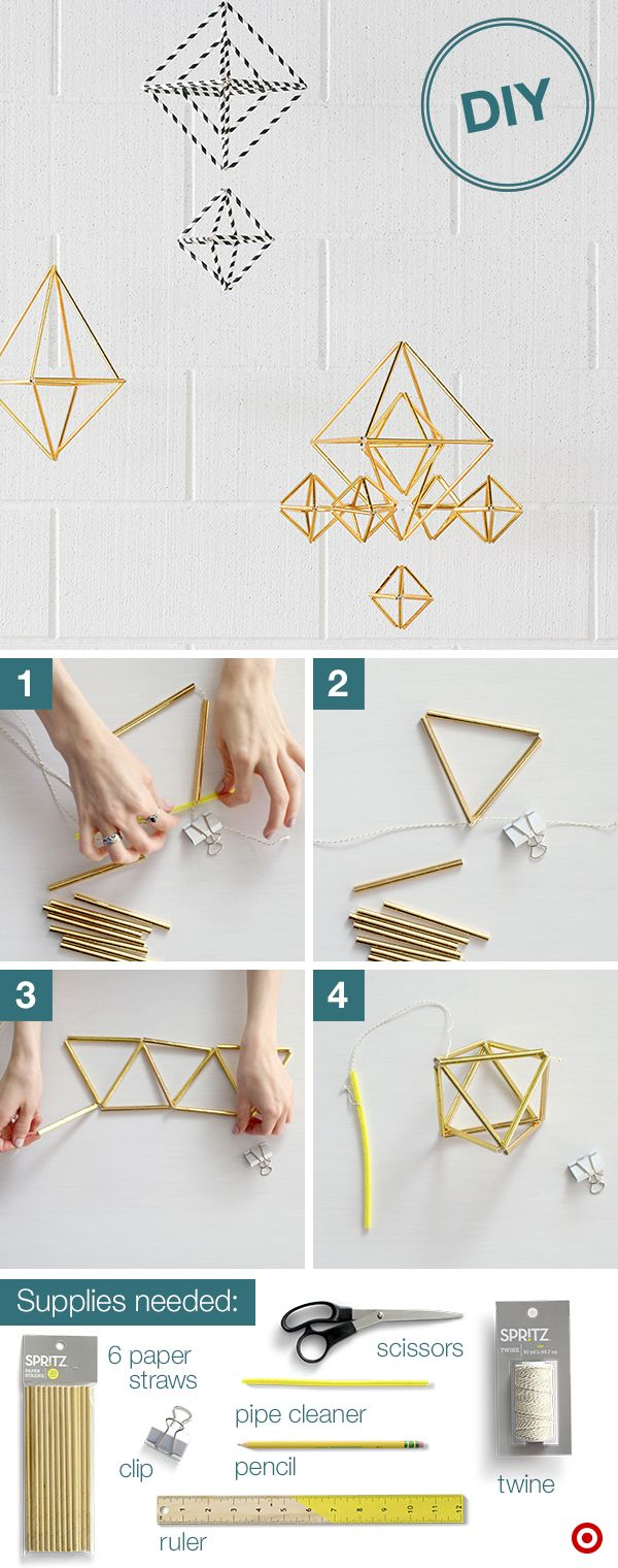 """Add dorm room flair with a fun, geo mobile. Step 1: Secure one end of twine with a clip and tie the other end around a pipe cleaner to form a """"needle"""". Step 2: Cut straws in half; thread 3 on the twine, forming a triangle. Loop to secure. Step 3: Thread on 2 more straws, form a triangle, loop it off. Repeat until you're out of straws, leaving the last straw detached. Step 4: Remove clip and tie the 2 ends together. Trim the excess twine and thread back through the first straw and tie…"""