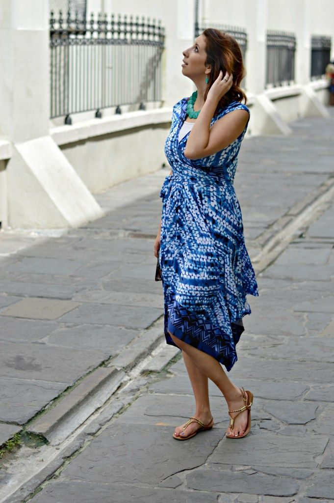 Blue Wrap Dress from Burlington Coat Factory! The perfect summer dress for a day of exploring downtown New Orleans, French Quarter! Full…
