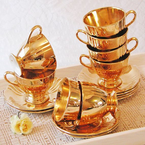 Stunning Royal Winton Gold Lustre Coffee Cup And Saucer