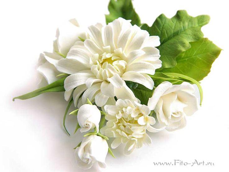 Украшения : Брошь с белыми хризантемами и розами - Fito Art