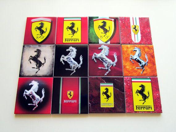 Set of 4 Ferrari Drink Coasters Ceramic Tiles  by TerryTiles2014