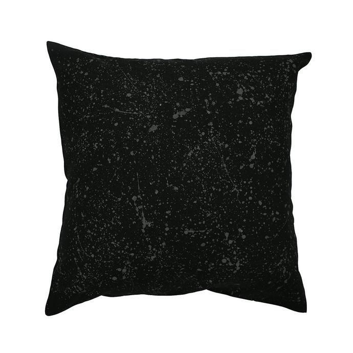 black linen cushion with grey paint splashes