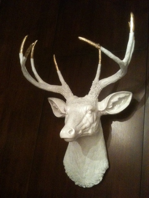 White and Gold Tipped Faux Deer Head Mount