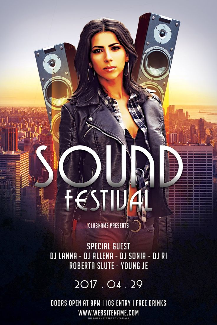 In this tutorial will help you how to create a sound festival flyer in Photoshop. You will learn easy-to-combine image stock techniques, color adjustment layers, masking, blending and typography. We will use the CMYK color code so it does not matter for us to print with good results.