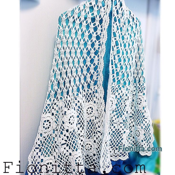 White Shawl  Free Crochet Diagram  (fionitta) | Crochet  touche! | Crochet scarves, Knit